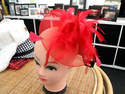 """hot fashion"" ladies red feathered fascinator"