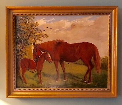 E.S. Cox 19th century Canvas Art Chestnut Mare Foal Horse Fine Art Painting