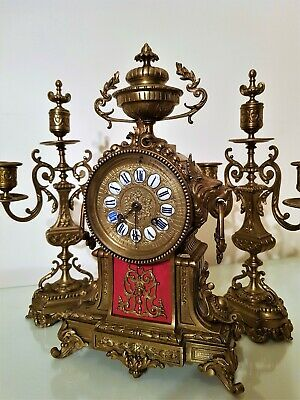 Antique French Brass Mantel Clock Garniture.