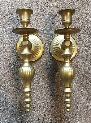 Pair Of Beautiful Elegant Vintage Brass Candle Wall Sconces Holders Home Decor