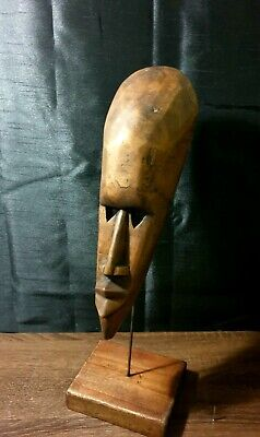 Mask African Carved Wood Tribal Wall Hand Vintage Art Wooden Face Decor 1201