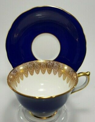 Aynsley Cobalt Blue Gold Teacup Tea Cup and Saucer