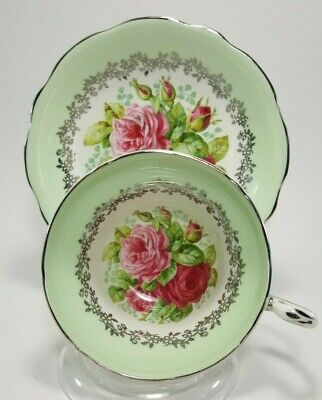Rare Foley Cabbage Rose Silver Teacup Tea Cup and Saucer