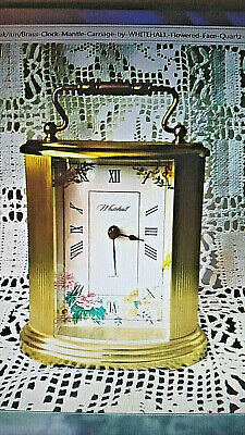 Brass Clock  Mantle/Carriage by WHITEHALL Flowered Face Quartz - Antique Style
