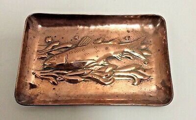 Newlyn/ John Pearson Interest Fish And Seaweed Repousse Copper Small Dish.