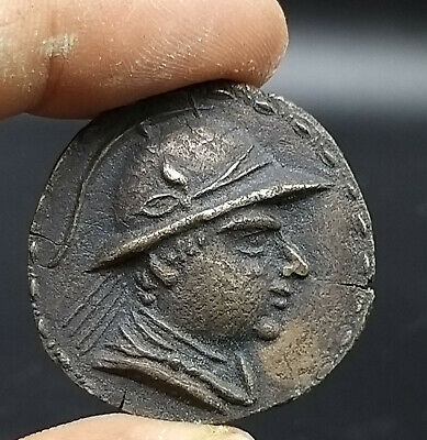 Unseen Kingdom Of Bactria Eucratides Greek Bronze Antiqe Coin