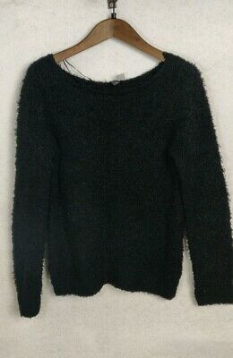 H&M Women's Smart Black Jumper soft top Woolly Finish Professional Size 12