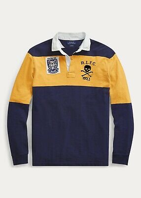 Polo Ralph Lauren Mens Skull and Crossbones Rugby Shirt | Yellow & Navy Block M