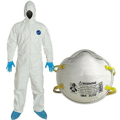 3M 8210 N95 Particulate Respirator mask + Dupont Hazmat Tyvek Virus 1 pc only