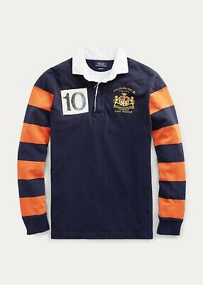 Polo Ralph Lauren Mens Crested Cotton Rugby Shirt | Navy and Orange Stripe | M
