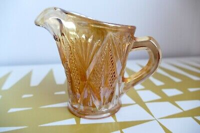Vintage Orange Carnival Lustre cut Glass Jug. 60s Retro dining