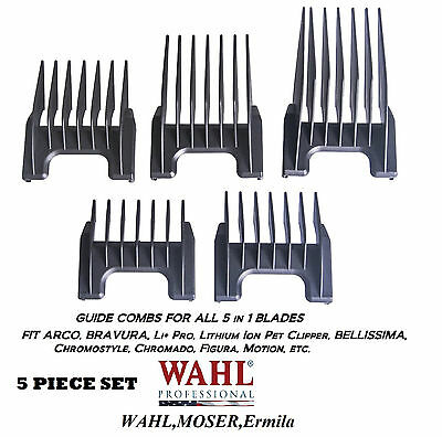 Wahl Attache Guide 5 IN 1 Lame Peigne 5pc Set-Genio, Chromstyle, Academy Clipper