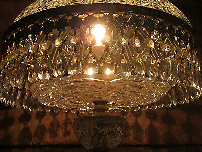 Magnificent Rare X Large French Antique Vintage Boudoir Cherub Crystal Dome Lamp