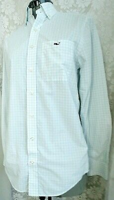 VINEYARD VINES Women's Blue Gingham Long Sleeve Button Down Blouse Size XS