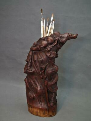Antique Chinese 19th Century Qing Dynasty carved Bamboo Scholar's Brush Holder
