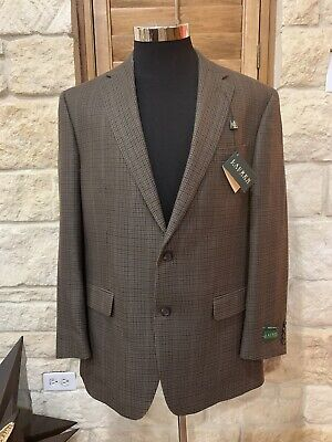 RALPH LAUREN Brown/Tan Houndstooth Wool/Silk Tweed Suit Jacket Blazer 44L NWT