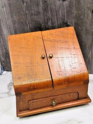 Antique Wooden Walnut Desk Writing Stationary Box Letter Rack Footed Organizer