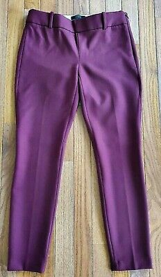 EUC J. Crew Minnie Mulberry Wool Blend Skinny Ankle Cropped Pants Women's Sz 00P