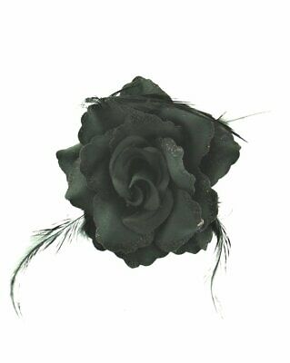 Zac's Alter Ego® Stunning Glitter Rose Flower with Feathers on Concord Clip