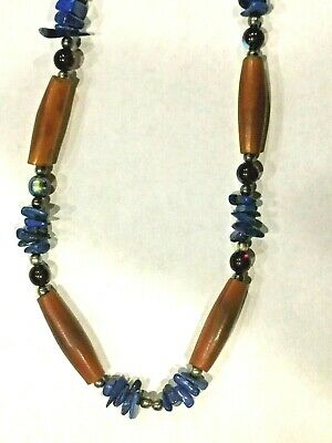 Antique Chinese H/Carved 4 Horn 6 Art Glass Balls Lapis Lazuli Beads Necklace