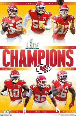 Kansas City Chiefs Super Bowl 54 LlV Champions Wall Poster IN STOCK!!