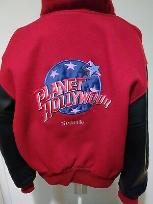 Planet Hollywood Seattle Mens Bomber Jacket Size Small Black Leather Red Wool