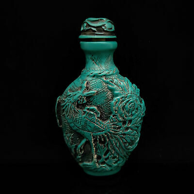 Old Chinese  Turquoise Hand Carved Phoenix Snuff Bottle   S278
