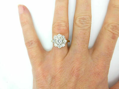 2.00 Ct Round Cut Diamond 14K Yellow Gold Over Cluster Engagement Wedding Ring