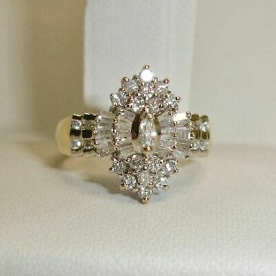 2.74 Ct Marquise Cut Diamond Cluster Engagement Wedding Ring 14K Yellow Gold Fn