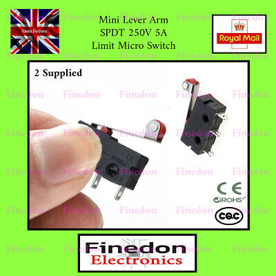 2 Qty Mini Micro Limit Roller Lever Arm Switch 250V 5A UK Seller