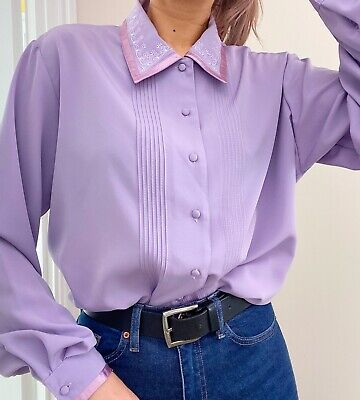 Vintage Womens Lilac Purple Blouse Shirt Size 16 Pastel Embroidered