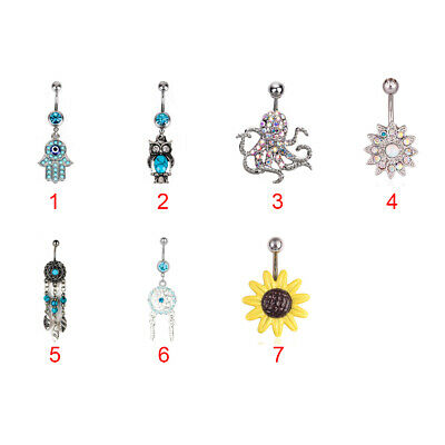 Navel Belly Bar Ring Navel Belly Button Body Piercing Jewellery Surgical Steel