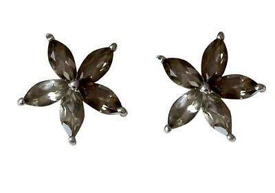 charming Smoky Quartz 925 Sterling Silver Brown Earring genuine jewelry CA gift