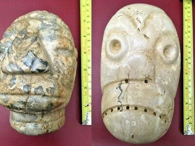 Lot Of 2 100% Precolumbian Maya And Olmeca Very Heavy Alabaster Heads
