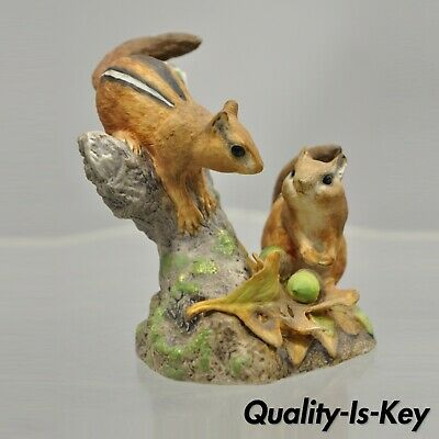 "1983 Chipmunks in Autumn National Wildlife Federation Ceramic 4"" Figurine"
