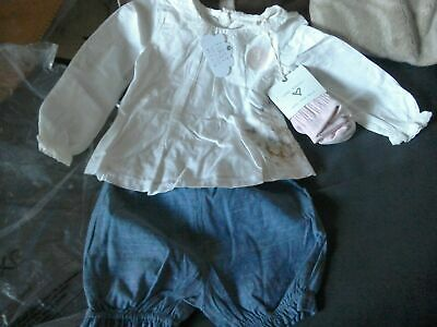 Next Baby Girls Cream Floral Embroidered Blouse Denim Shorts Pink Tights 18-24M