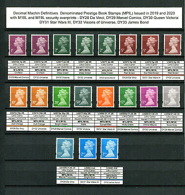 2019 year issued Prestige Book stamps (M18L M19L) MPIL and M IL DY28 to DY32