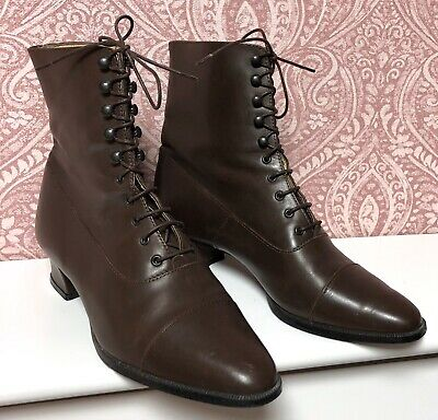 Laura Ashley Vintage Victorian Style Leather Lace-Up Ankle Boots,Uk5/6  Eu38/39