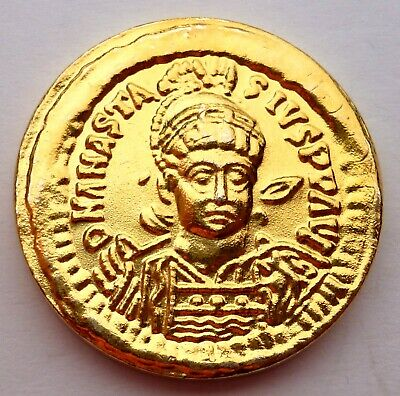 Byzantine Imperial Anastasius Gold Solidus 491 - 518 Gold plated coin (Τ21)