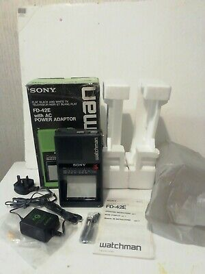 Vintage Sony Watchman FD-42E Black & White Portable TV 1980s mint unmarked cond
