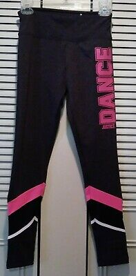 """*Nwt* Justice Active Leggings Girls 18/20 Black With Pink """"Dance"""" Full Length"""