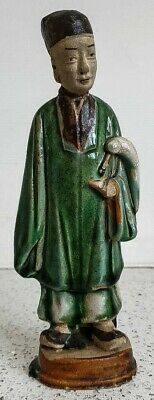 Antique Chinese Figure Ming Dynasty 16th century Green Glazed pottery Mud Man