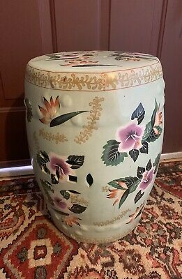Antique 20th C Chinese Floral Porcelain Garden Plant Stool Regency Cottage Chair