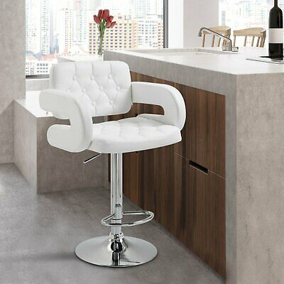 Homcom Pu Leather Bar Stool Metal White Kitchen Seat Modern Room Easy Style
