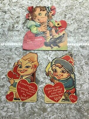 3 Vtg antique old  Valentine Cards Lot Big Eyes Creepy large face