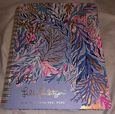 New Lilly Pulitzer Jumbo Agenda Kaleidoscope Coral Aug 2019- Dec 2020 Hardcover