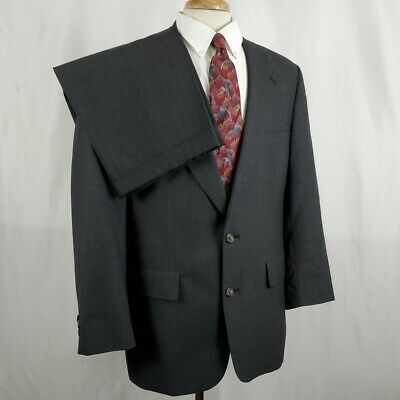Brooks Brothers Mens Charcoal Gray Pinstripe Suit Two Button 42R 36x27 Wool