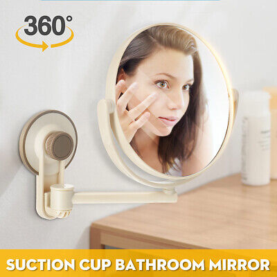 360° Suction Cup Wall-Mounted Adjustable Make Up Shaving Round Bathroom Mirrors