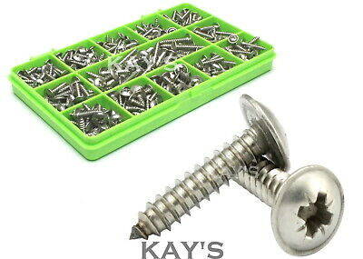 350 Assorted Stainless Steel Pozi Flange Self Tapping Trim Screws Self Tappers