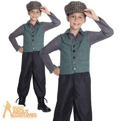 Kids Victorian School Boy Costume Poor Urchin Book Week Day Fancy Dress Outfit